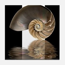Nautilus Shell (B&W) Tile Coaster