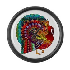 Thanksgiving Jeweled Turkey Large Wall Clock