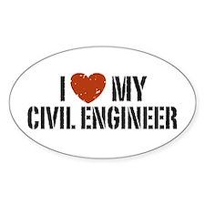I Love My Civil Engineer Oval Decal