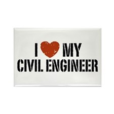 I Love My Civil Engineer Rectangle Magnet