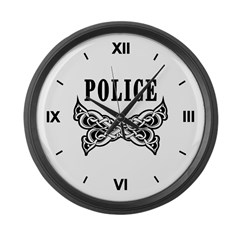 Police Tattoo Large Wall Clock
