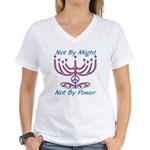 Not By Might Women's V-Neck T-Shirt