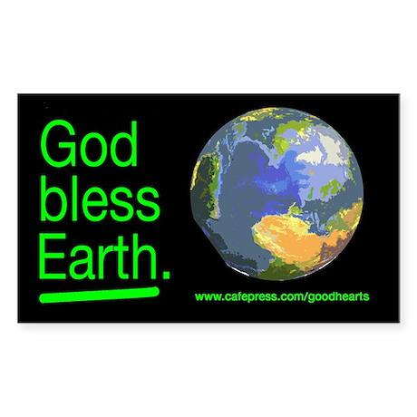 God Bless Earth Rectangle Sticker
