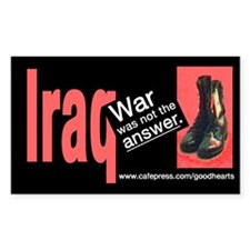 Iraq: War Was Not the Answer Rectangle Decal
