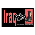 Iraq: War Was Not the Answer Rectangle Sticker