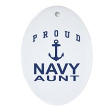 Proud Navy Aunt Oval Ornament