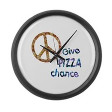 Give Pizza Chance Large Wall Clock