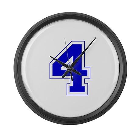 Varsity Font Number 4 Blue Large Wall Clock