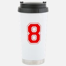 Varsity Font Number 8 Red Stainless Steel Travel M