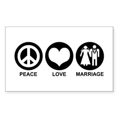 Peace Love Marriage Rectangle Decal