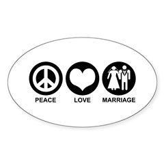 Peace Love Marriage Oval Decal