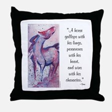 Horse Character with Saying Throw Pillow