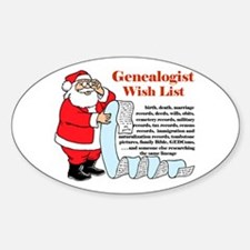 Genealogy Christmas<br>Oval Decal