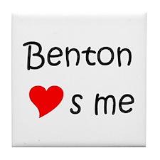 Cute Benton loves me Tile Coaster