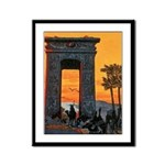 Arch and Camels Framed Panel Print