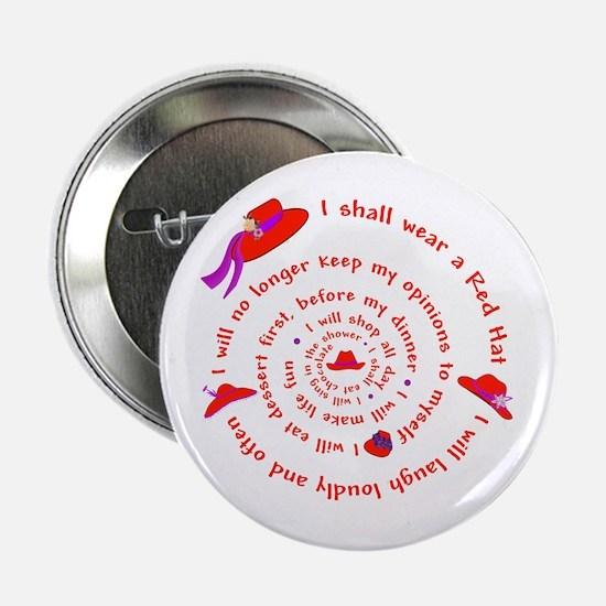 "Red Hat swirly 2.25"" Button"