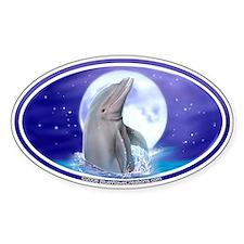 Dolphin Moon Splash Bumper Oval Decal