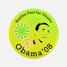 """Beatles Fans for Obama 3.5"""" Button"""