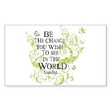Gandhi Vine - Change - Green Rectangle Bumper Stickers