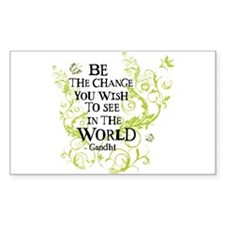 Gandhi Vine - Change - Green Rectangle Stickers
