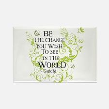 Gandhi Vine - Change - Green Rectangle Magnet