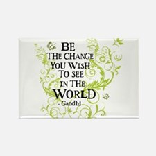 Gandhi Vine - Change - Green Rectangle Magnet (10
