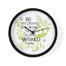 Gandhi Vine - Change - Green Wall Clock