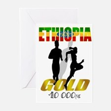 Ethiopian 10 000m Gold Athlet Greeting Cards (Pk o