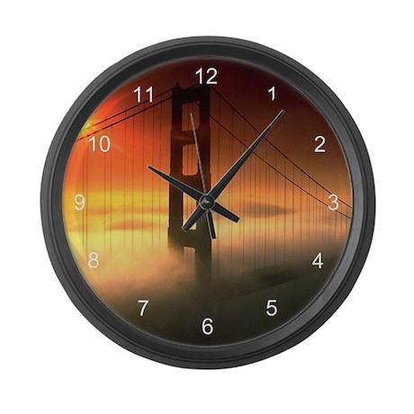 Fog Shrouded Golden Gate Large Wall Clock