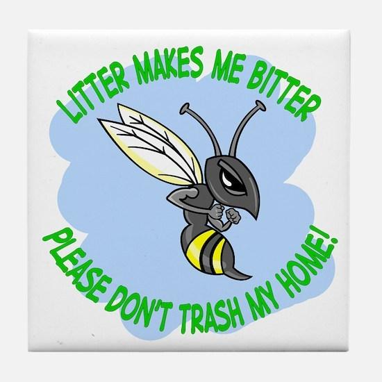 bitter litter bee Tile Coaster