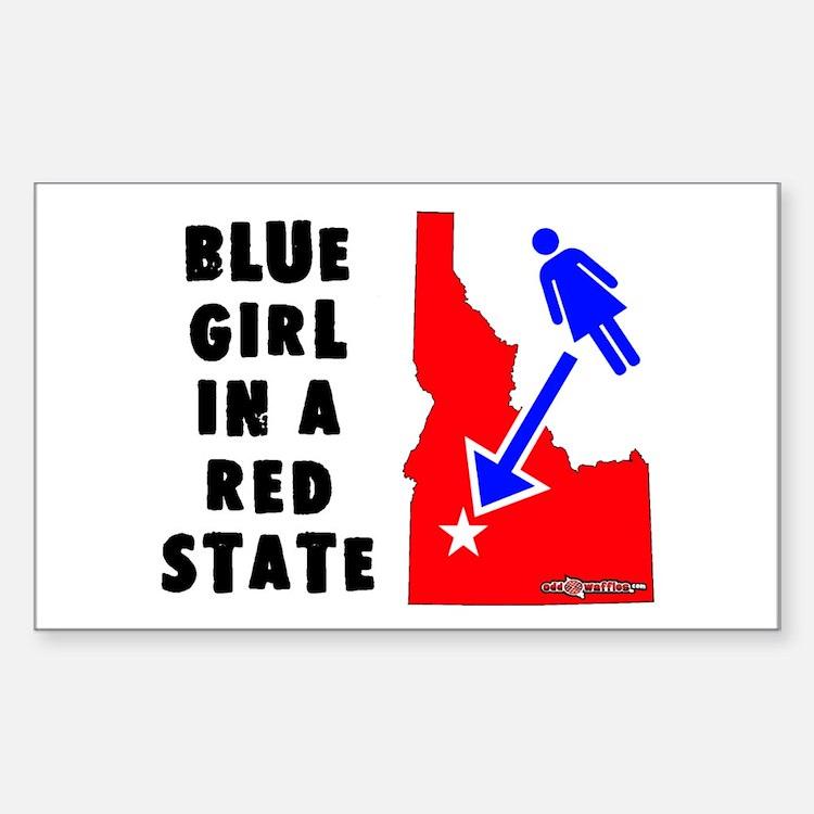 OddWaffles.com Blue Girl i Rectangle Decal