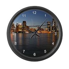 Detroit Skyline Large Wall Clock