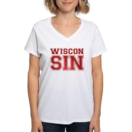 Wiscon SIN Women's V-Neck T-Shirt