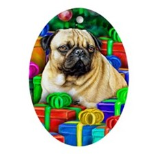 Pug Christmas Open Gifts Oval Ornament