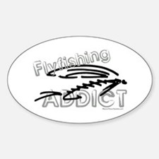 Fly Fishing Addict Oval Decal