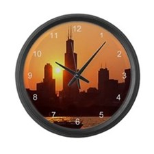 Sears Tower As The Sun Sets Large Wall Clock