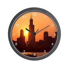Sears Tower As The Sun Sets Wall Clock
