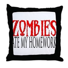 Zombies ate my homework Throw Pillow