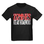 Zombies ate my homework Kids Dark T-Shirt