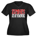 Zombies ate my homework Women's Plus Size V-Neck D