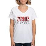 Zombies ate my homework Women's V-Neck T-Shirt