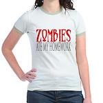Zombies ate my homework Jr. Ringer T-Shirt