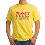 Zombies ate my homework Yellow T-Shirt