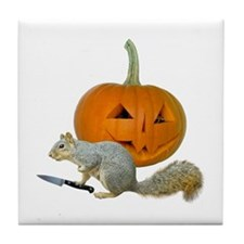 Squirrel Carving Pumpkin Tile Coaster