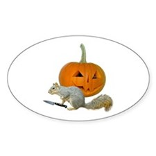 Squirrel Carving Pumpkin Oval Decal