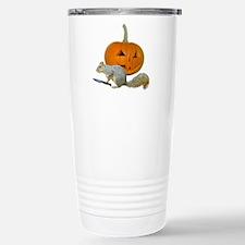 Squirrel Carving Pumpkin Travel Mug