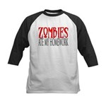 Zombies ate my homework Kids Baseball Jersey