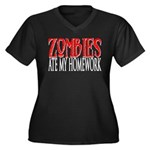 Zombies ate my homework Women's Plus Size V-Neck D