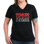Zombies ate my homework Women's V-Neck Dark T-Shir