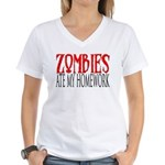 Zombies ate my homework Women's V-Neck T-Shirt